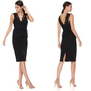 Bardot Valencia Peplum Lace Black Dress 10